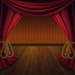 图库照片: Retro red curtains with wood floor