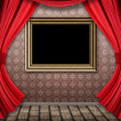 Room with red curtains and frame — Stock fotografie #21854699