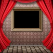 Room with red curtains and frame — стоковое фото #21854699