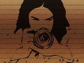 Fondo chica fotógrafo grunge — Foto de Stock