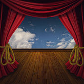 Retro red curtains with wood floor — Stock Photo