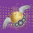 Royalty-Free Stock Vector Image: Gold disco ball with wings