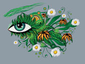 Floral summer eye — Stock Vector