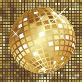 Golden disco ball — Stock Vector