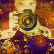 Photographer girl grunge illustration - Stock Photo