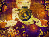 Photographer girl grunge illustration — Stock Photo