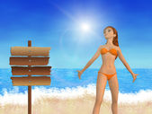 Girl on beach and signboard — Stock Photo