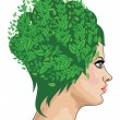 Girl with green hair — Stock Vector