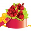 Stock Vector: Roses in gift box