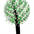 Tree with pink blossom - Stock Vector