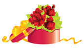 Roses in gift box — Stock Vector
