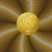 闪闪发光的黄金迪斯科舞会 — 图库矢量图片