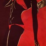 Bikini silhouette on grunge red background — Stock Photo