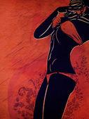 Silhouette bikini su sfondo rosso del grunge — Foto Stock