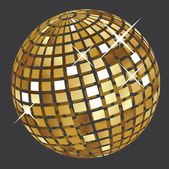 Golden disco ball — Stock Vector