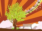 Letní obrázek se stromečkem — Stock vektor