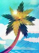 Grunge kreslený palmy a moře — Stock fotografie