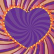 Purple rays background with heart — Stock Vector