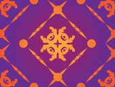 Yellow ornament on purple background — Stock Vector