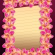 Pink plumeria flowers frame with paper — Stock Photo #23205566