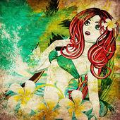 Grunge island girl — Stock Photo
