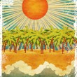 Grunge sunny tropical island — Stock Photo