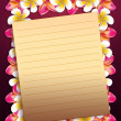 Plumeria flowers frame with paper — Stock Photo #23273348