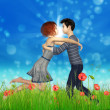 Teen couple on poppy field — Stock Photo