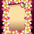 Plumeria flowers frame with paper — Stock Photo #23339628