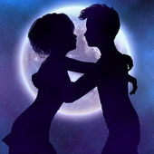 Couple silhouette in the night — Stock Photo