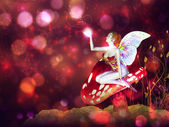 Magic mushroom fairy — Stock Photo