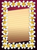 White plumeria flowers frame with paper — Stock Photo
