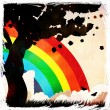 Grunge tree silhouette and rainbow — Stock Photo