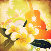 Grunge tropical background with guitar — Stock Photo