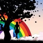 Girl on swing and rainbow — Stock Vector