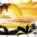 Grunge sunset tropical island — Stock Photo #23936055