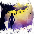 Grunge girl on swing silhouette at night — Stock Photo