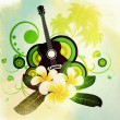 Grunge plumeria flowers and guitar - Stock Photo