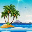Grunge tropical island in the ocean — Stock Photo