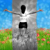 Abstract girl on poppy field — Stock Photo