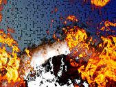 сжигание печатной платы — Стоковое фото