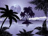 Isla tropical la noche — Vector de stock