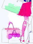 Watercolor shopping woman legs — Stock Photo