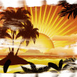 Grunge sunset tropical island — Stock Photo #24339553