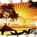 Grunge sunset tropical island — Stock Photo #24339553