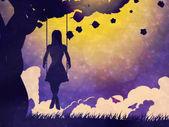 Grunge girl on swing silhouette at night — Stock Photo