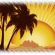 Grunge sunset tropical island — Stock Photo #24430069