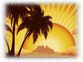 Grunge sunset tropical island — Stock Photo