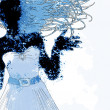 watercolor girl silhouette — Stock Photo