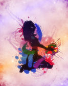 Colorful grunge dj girl — Stock Photo